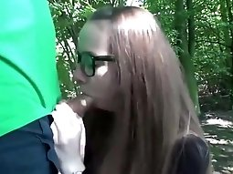 German couple fucks in the woods